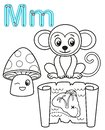 Printable coloring page for kindergarten and preschool. Card for study English. Vector coloring book alphabet. Letter M. mushroom