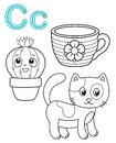 Printable coloring page for kindergarten and preschool. Card for study English. Vector coloring book alphabet. Letter C. Cat, cup