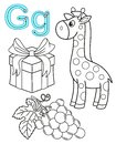 Printable coloring page for kindergarten and preschool. Card for study English. Vector coloring book alphabet. Letter G. gift,