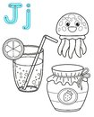 Printable coloring page for kindergarten and preschool. Card for study English. Vector coloring book alphabet. Letter J. juice,