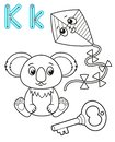 Printable coloring page for kindergarten and preschool. Card for study English. Vector coloring book alphabet. Letter K. key,