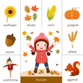 Printable flash card for autumn and little girl playing with aut