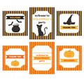 Printable set of Halloween party elements. Templates, labels, icons and wraps with pumpkin, cat, hat, bat and shoes Royalty Free Stock Photo