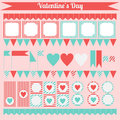 Printable set of saint valentine party elements. Happy Valentines Day set.