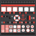 Printable set of vintage pirate party elements. Royalty Free Stock Photo