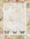Printable vintage shabby chic style abstract floral stationary or background with butterflies Royalty Free Stock Photo