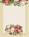 Printable vintage shabby chic style floral rose stationary on green paper background Royalty Free Stock Photo