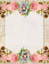 Printable vintage shabby chic style floral rose stationary on wood background Royalty Free Stock Photo