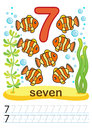 Printable worksheet for kindergarten and preschool. We train to write numbers. Math exercises. Bright figures on a marine