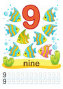Printable worksheet for kindergarten and preschool. We train to write numbers. Mathe exercises. Bright figures on a marine backgro
