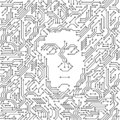 Printed circuit board black and white computer technology with a human face, artificial intelligence concept, vector Royalty Free Stock Photo