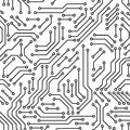 Printed circuit board black and white computer technology seamless pattern, vector Royalty Free Stock Photo