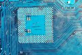 Printed circuit board detail of blue with silver studs Royalty Free Stock Photos