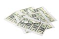 Printed sheets with dollars and handcuffs. Royalty Free Stock Photo