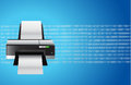 Printer blue graphic illustration design binary background Royalty Free Stock Photography