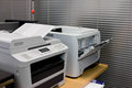 Printer document in office equipment grey computer Stock Images