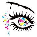 Printer eye and spots in cmyk colors Royalty Free Stock Image