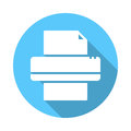 Printer flat icon. Round colorful button