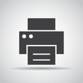 Printer icon with shadow on a gray background. Vector illustration