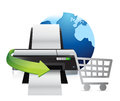 Printer international shopping concept illustration design over white Royalty Free Stock Photo