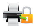 Printer security lock illustration design over a white background Stock Image