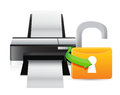 Printer unlock illustration graphic design over a white background Royalty Free Stock Photos