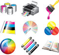 Printing and cmyk colors icons detailed set Stock Photography