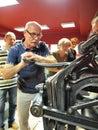 Printing house lublin poland man trying to print at izba drukarstwa Stock Photography
