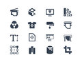 Printing icons isolated on white Royalty Free Stock Photography