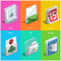 Printing icons isometric on a colorful background Royalty Free Stock Photography