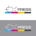Printing labels and CMYK scale. Printing services, express print & copy, media center, print house, photo studio. Logo template. Royalty Free Stock Photo