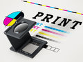 Printing loupe standing on colour test paper. 3D illustration