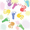 Prints of children hands and feet Royalty Free Stock Photos