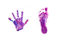 Prints little baby foot and hand. Royalty Free Stock Photo