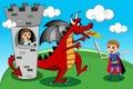 Prinzessin prince dragon tower kid kids tale Lizenzfreies Stockfoto
