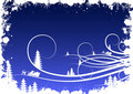Priorità bassa di inverno di Grunge con i fiocchi di neve dell'abete e Santa Clau Fotografia Stock Libera da Diritti