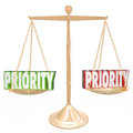 Priority d words weighing most important jobs tasks scale on a gold or balance to illustrate or qualities for the thing to do Stock Images