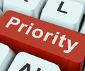 Priority Key Means Greater Importance Or Primacy Royalty Free Stock Photo