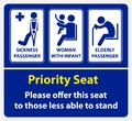 Priority seat sticker. using in public transportation, like bus, train, mass rapid transit and other. Royalty Free Stock Photo
