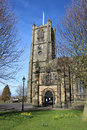 The priory and parish church of st mary lancaster entrance to or as it is often know showing tower clock Royalty Free Stock Image