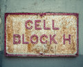 Prison Cell Block Sign Royalty Free Stock Photo