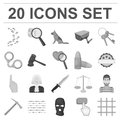 Prison and the criminalmonochrome icons in set collection for design.Prison and Attributes vector symbol stock web