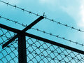 Prison fence silhouette Royalty Free Stock Photo