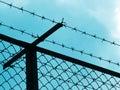 Prison fence silhouette