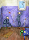 Prison and freedom two inmates in a cell watercolor Stock Images