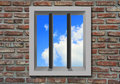 Prison window with sky. Royalty Free Stock Photo