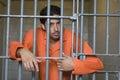 Prisoner Behind Bars Stock Photography