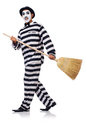 Prisoner with broom isolated on the white Stock Photo
