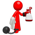 Prisoner Cleaning, Glove and Spray and Cloth Royalty Free Stock Images