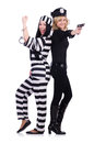 Prisoner and police isolated on the white Royalty Free Stock Photo